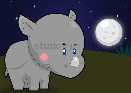Grass : Rhinoceros over a moonlit background