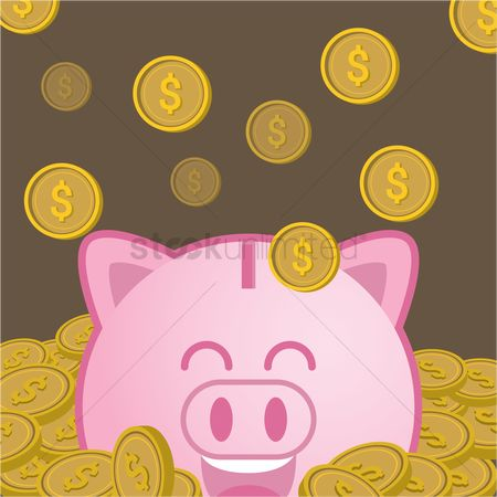 Wealth : Rich piggy bank with falling gold coins