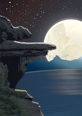Moon : Rock cliff and full moon