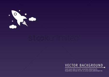 Spaceships : Rocket in space background