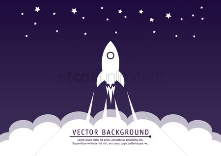 Copy spaces : Rocket launch background