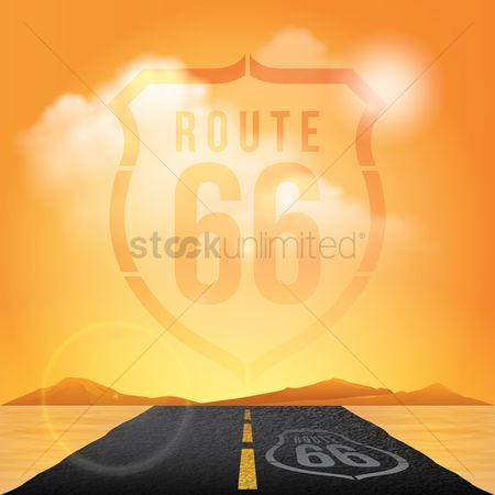 State : Route sign 66 roadway