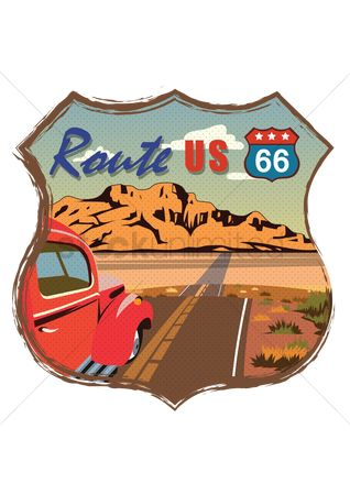 Warning : Route us 66 road sign