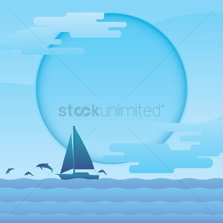 Copy space : Sailboat in sea