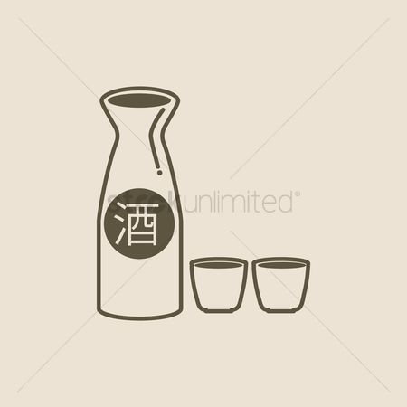 Crockery : Sake bottle and cups