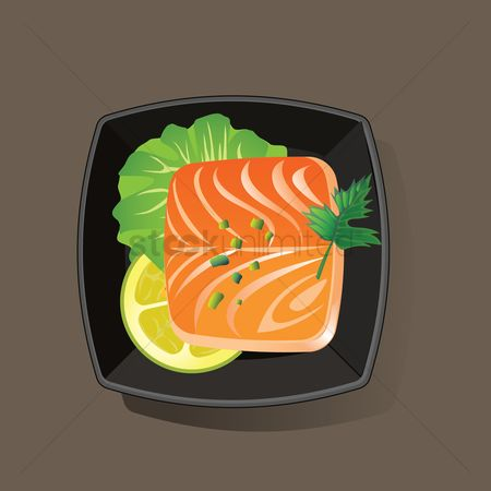 Nutritions : Salmon fish slice served in bowl