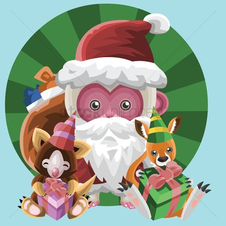 Background : Santa monkey on christmas