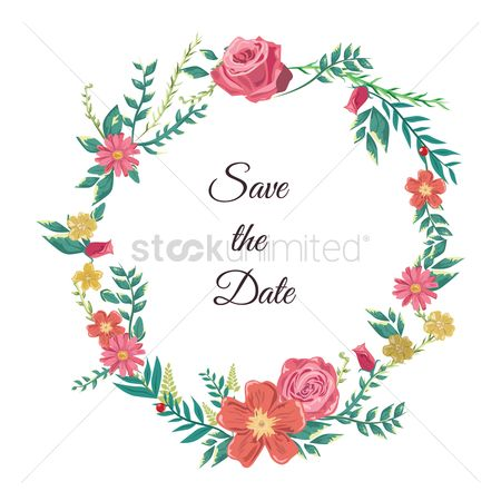 Weddings : Save the date card with wreath