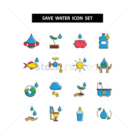 Faucets : Save water icon set