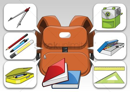 School bag : School bag and stationery