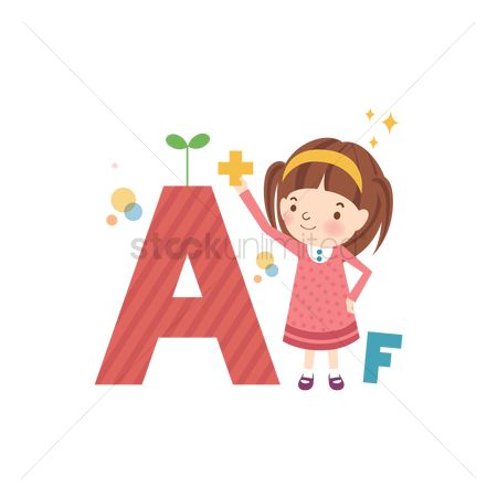 School children : School girl with alphabets