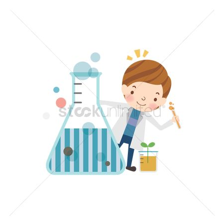 School children : School girl with conical flask