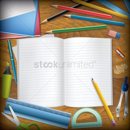 Highlighters : School supplies on desk background with copy space