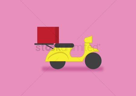 Background : Scooter with red delivery box