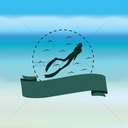 Coast : Scuba diver with banner
