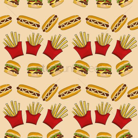 French fry : Seamless fast food pattern