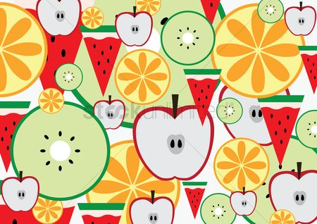 Watermelon slice : Seamless pattern of fruits