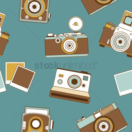 Photography : Seamless pattern of retro camera
