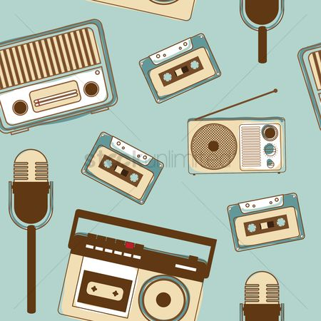 Broadcasting : Seamless pattern of vintage media gadgets