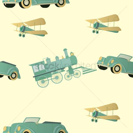 Aeroplanes : Seamless vintage transport background