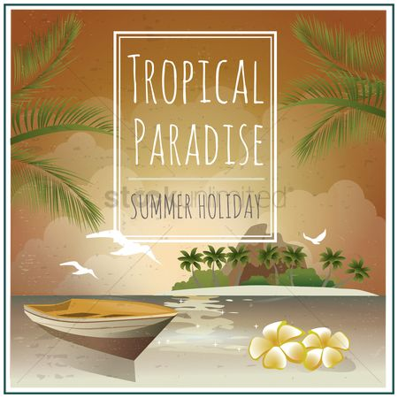 Styles : Seaside and island holiday poster