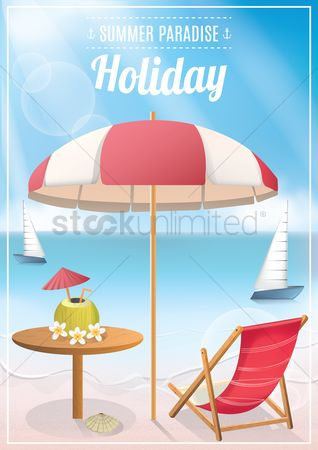 Summer : Seaside holiday poster