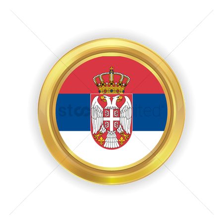 Tricolored : Serbia flag button