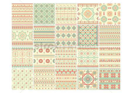 Geometric : Set of abstract ethnic backgrounds