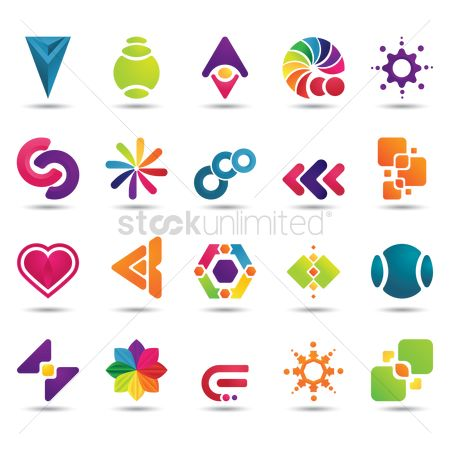 Abstract : Set of abstract logo elements