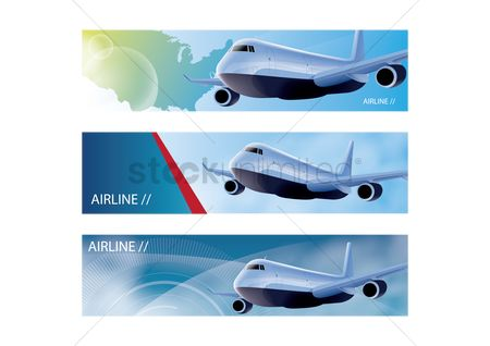 Aeroplanes : Set of airline banners