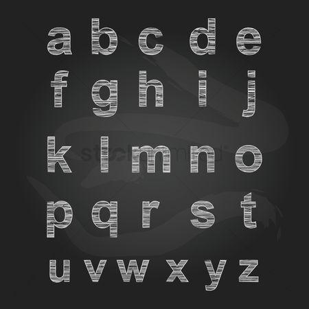 Blackboard : Set of alphabet icons