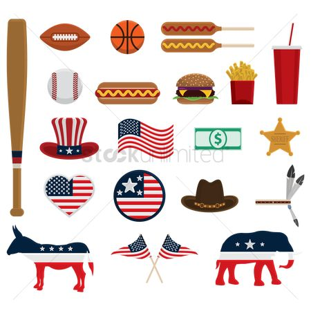 French : Set of american icons
