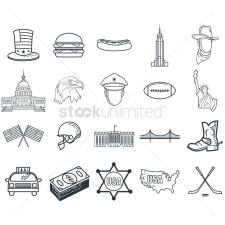 Linear : Set of american themed icons