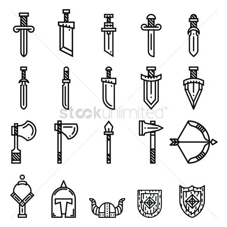 Shield : Set of ancient weapon icons