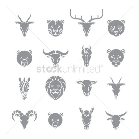 Bull : Set of animal icons