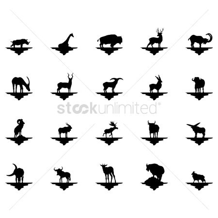Horns : Set of animal silhouettes