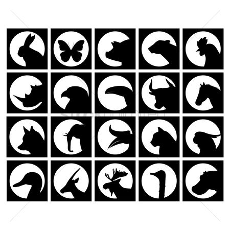 Bull : Set of animal silhouettes