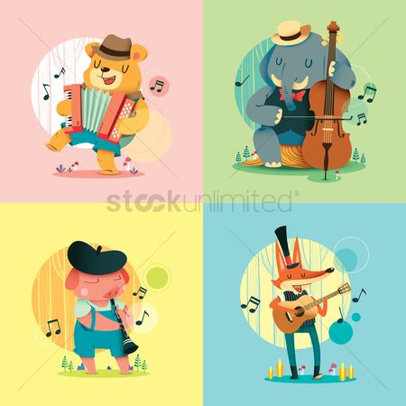 Dancing : Set of animals with musical instruments
