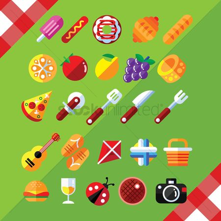 Croissant : Set of assorted icons