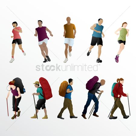 Guys : Set of athletes and hikers