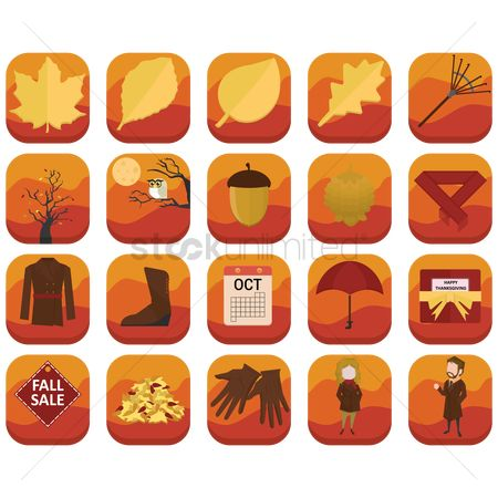 Oct : Set of autumn related icons