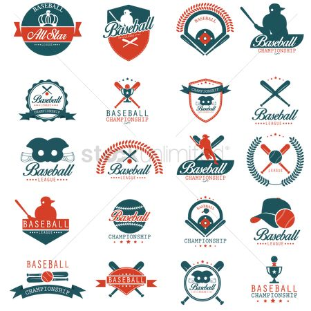 Athletes : Set of baseball labels