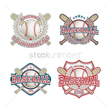 Baseball : Set of baseball logo element icons
