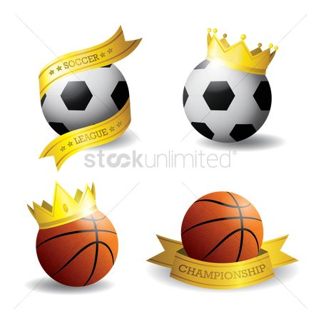 Footballs : Set of basketball and soccer ball icons