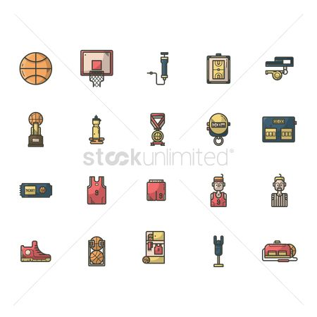 Whistle : Set of basketball icons
