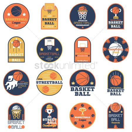 Logs : Set of basketball stickers