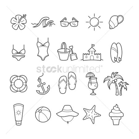 Pad : Set of beach icons