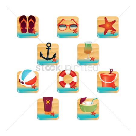 Starfishes : Set of beach icons