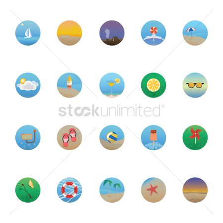 Marine life : Set of beach icons