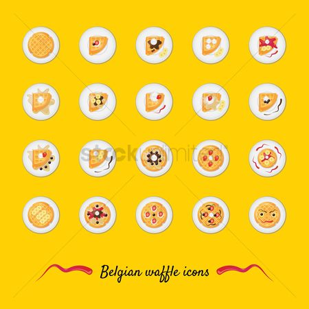 Slices : Set of belgian waffle icons